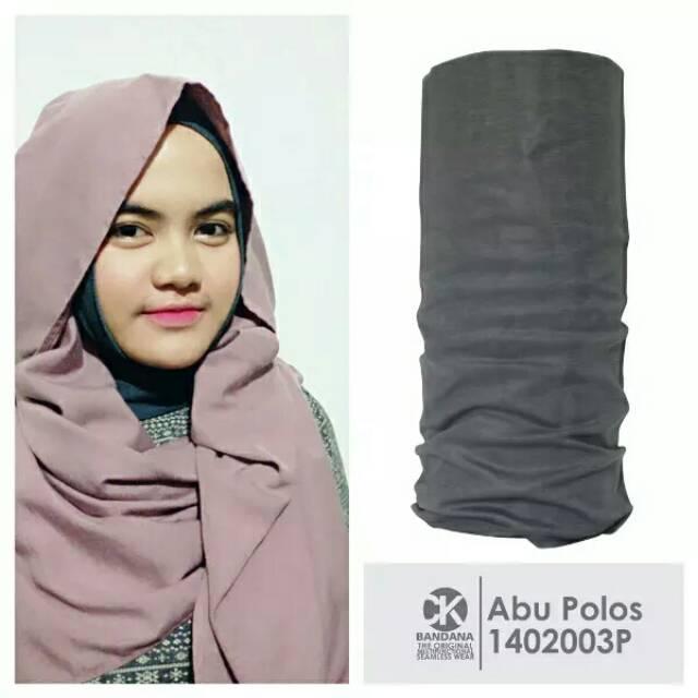 Original CK Bandana Abu Abu Polos Buff Slayer Multifungsi Tanpa Sambungan Hijab Jilbab Kerudung | Shopee