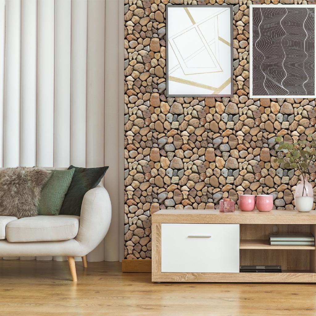 Stiker Dinding Dengan Bahan Mudah Dilepas Dan Gambar Motif Batu Bata 3d Ukuran 30x30cm