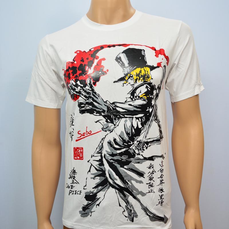 Pakaian Pria Kaos Baju Tshirt Anime Onepiece Sabo Abstrak Spandex