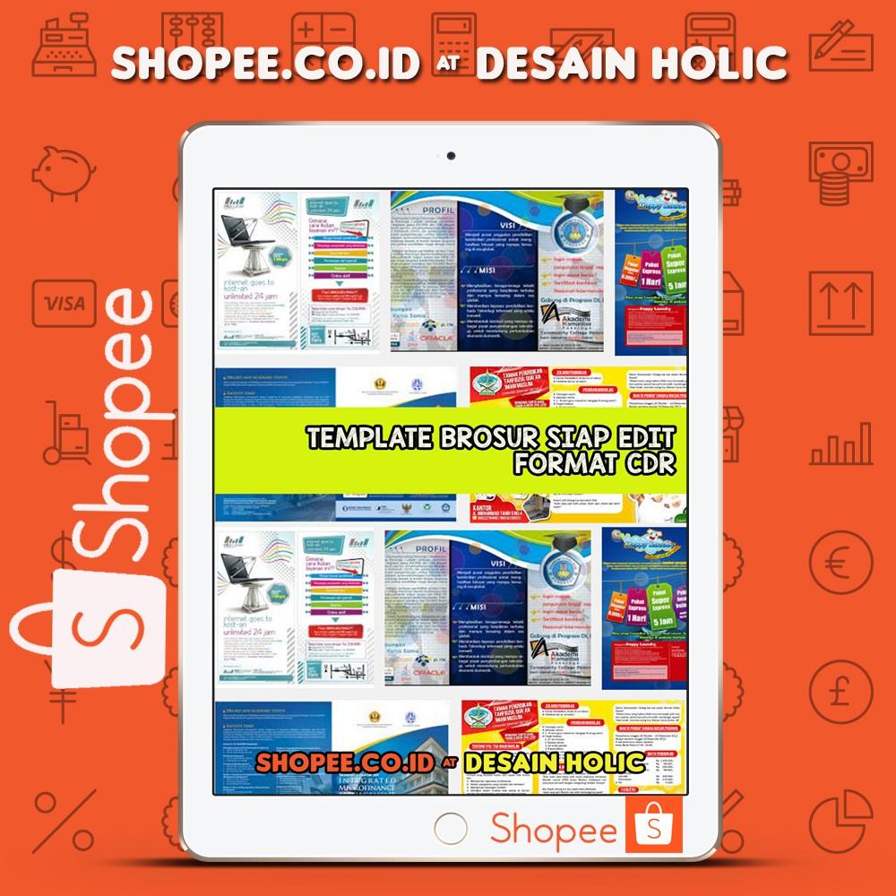Template Desain Brosur Siap Edit Format CDR Shopee Indonesia