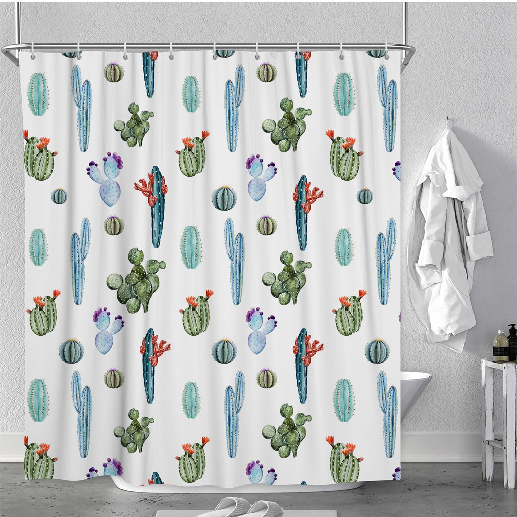 Watercolor Tropical Pattern Polyester Fabric Bathroom Bath Shower Curtain
