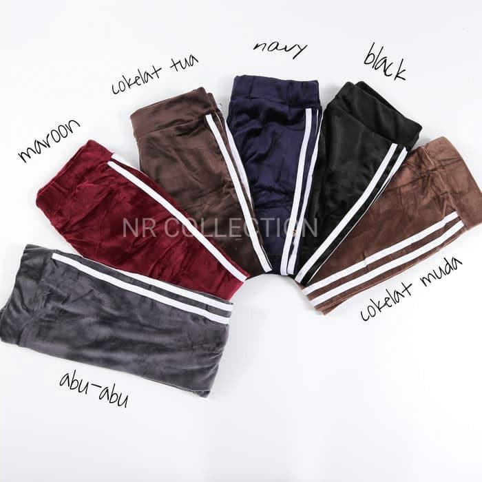 Legging List Bludru Celana Legging Velvet Legging List Bahan Bludru Celana Legging Stripe Velvet Shopee Indonesia