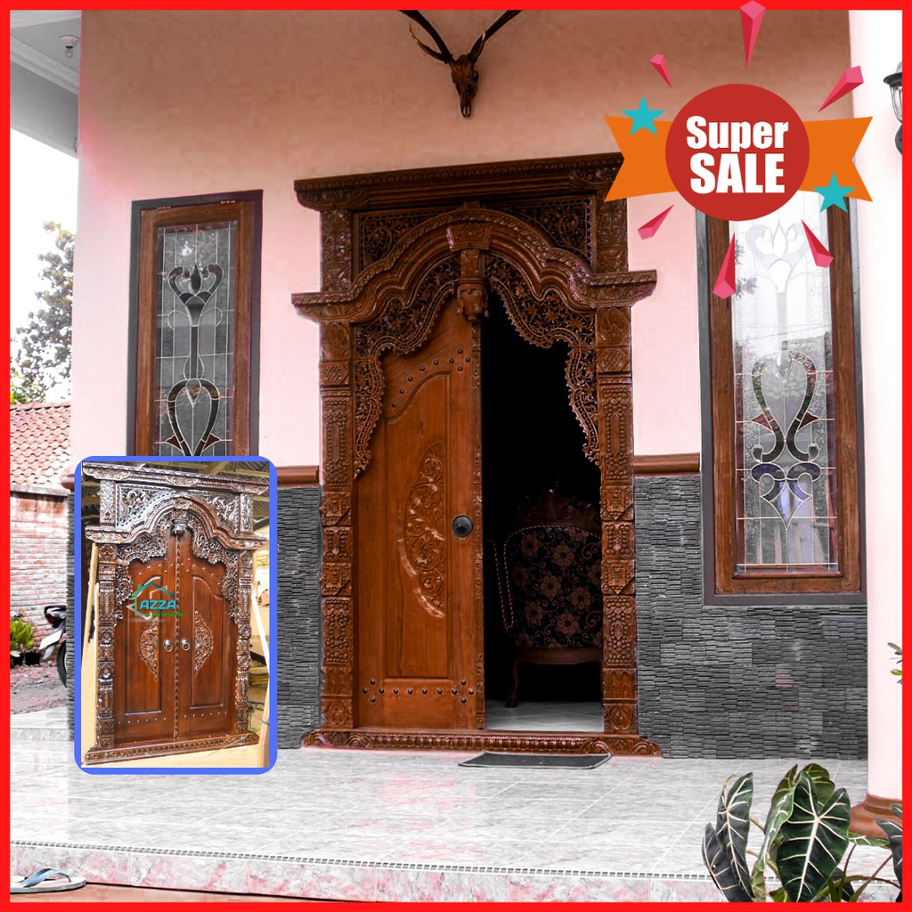 Pintu Rumah Gebyok Kayu Jati Solid Ukiran Jawa Klasik | Shopee Indonesia