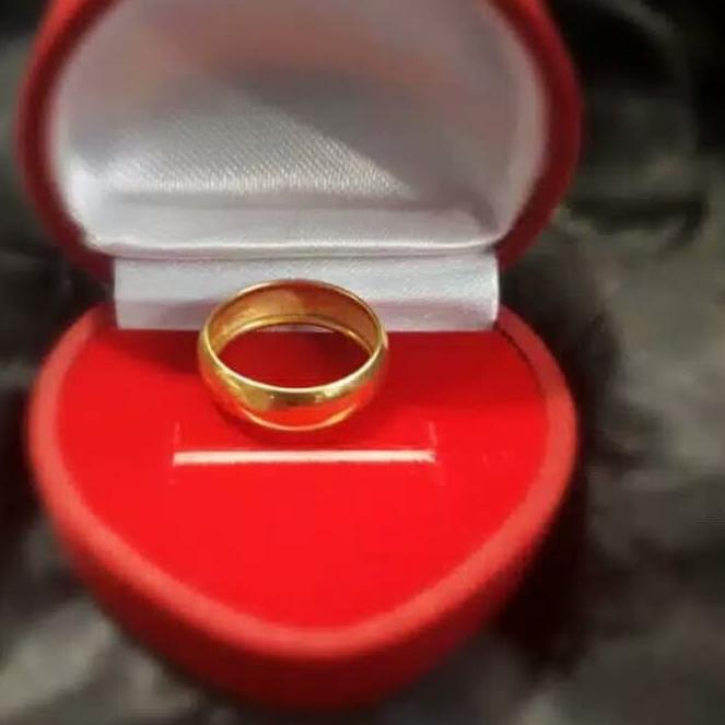 F 9354 5 Cincin emas asli kadar 700 22k 0,6 0.6 g gr gram polos ukir belarotan