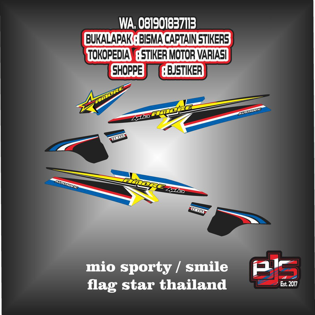 Stiker striping list motor mio sporty mio smile flag star thailand shopee indonesia