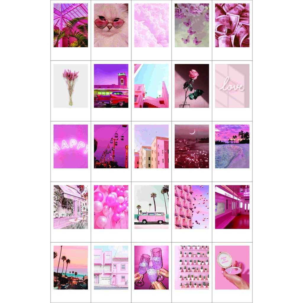 Paket Tema 25 Foto Pink Themed Polaroid Dekorasi Kamar Aesthetic Shopee Indonesia