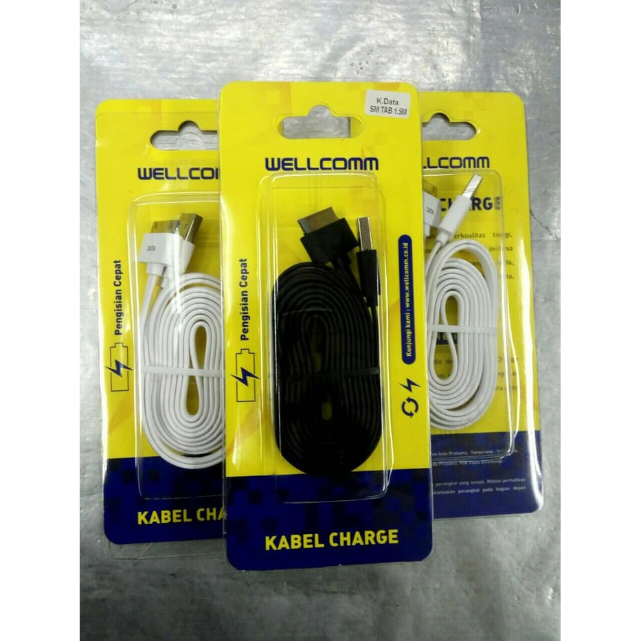 Cable Kabel Micro Usb Flat Wellcomm 15m Shopee Indonesia Data Iphone 4 Hitam