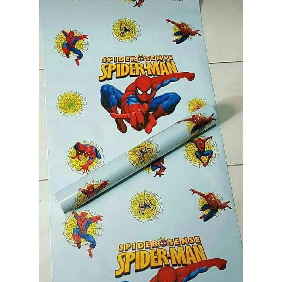 Promo Wallpaper Sticker Walpaper Dinding Karakter Spiderman Dasar Biru Ready