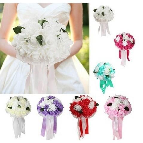 50 Buket Bunga Sutra Buatan Busa Bunga Dekorasi Pernikahan Pengantin