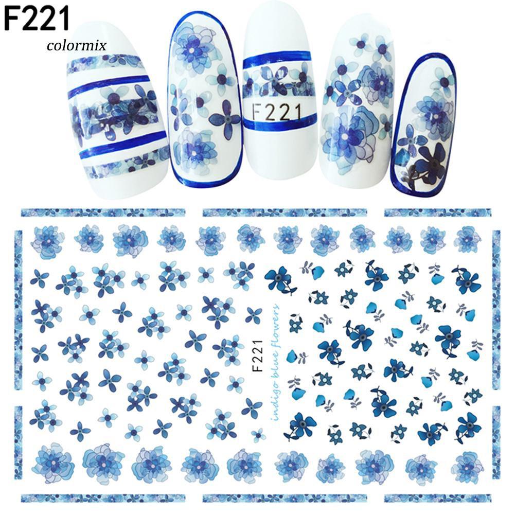 Nail Art Bunga: 1 Lembar Stiker Nail Art Desain Bunga / Daun Untuk