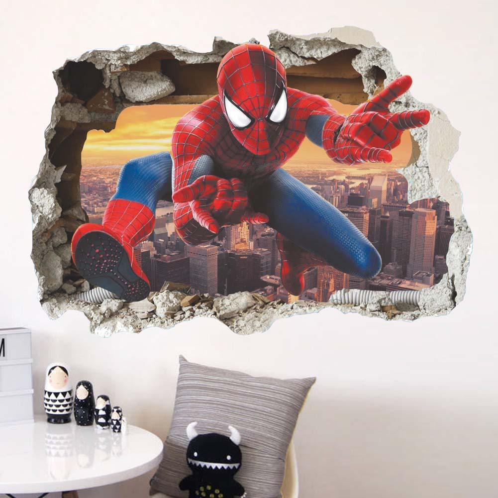 Stiker Dinding Dengan Bahan Mudah Dilepas Gambar Spiderman 3D Untuk Dekorasi Rumah