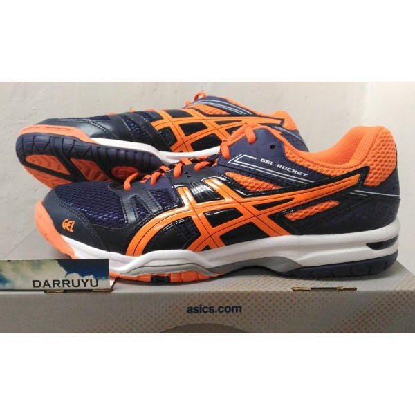 Sepatu Tenis Badminton Asics Gel Rocket 7 Navy Orange Original Murah ... 76f4cbd363