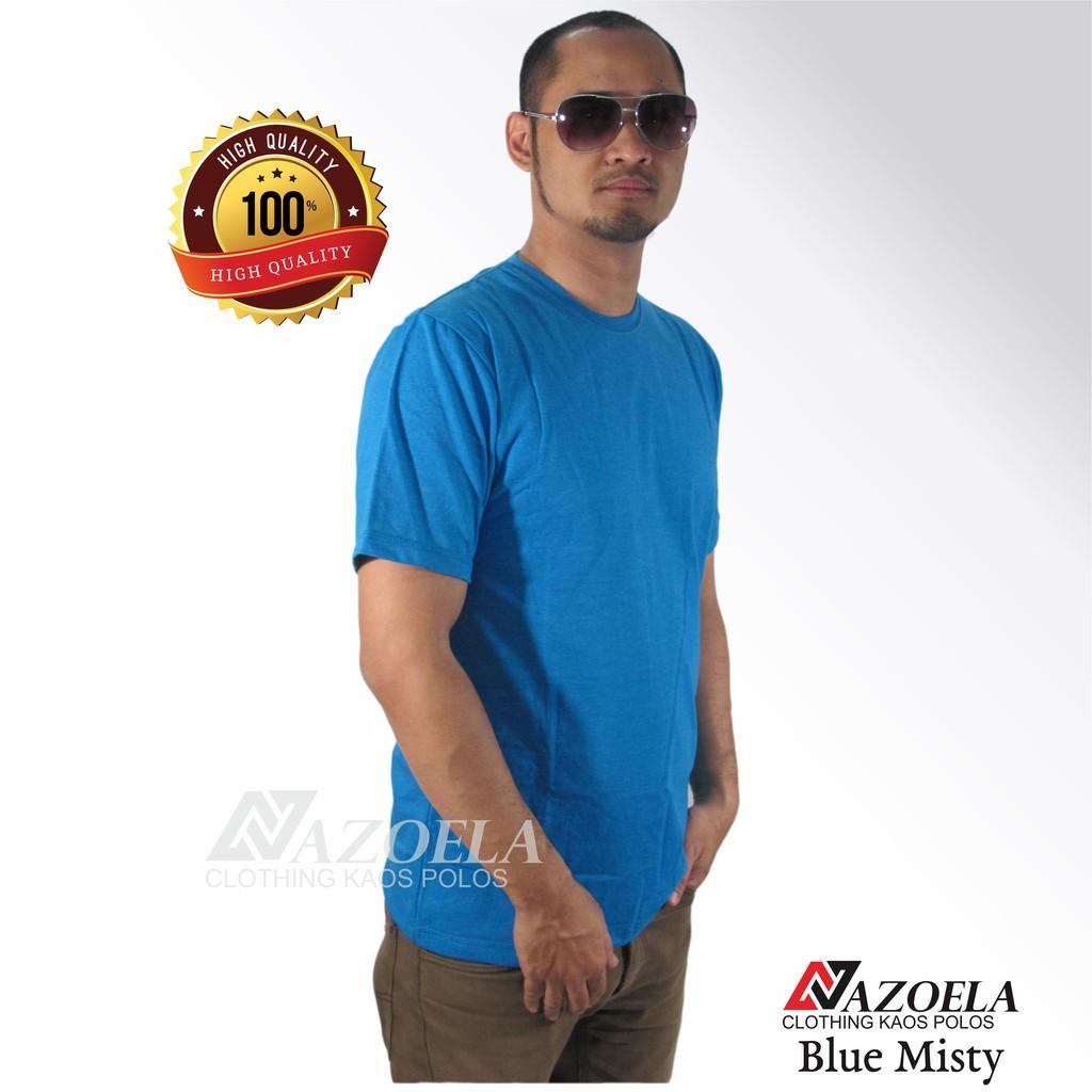 Baju Kaos Polos Blue Misty Original Catton Combed 30s Reaktiv Unisex Shopee Indonesia
