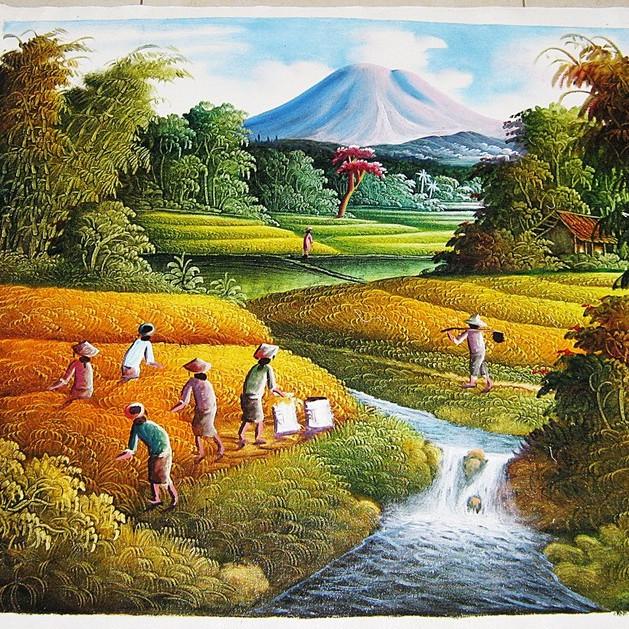 Lukisan Panen Padi Dan Pemandangan Alam Yang Indah Shopee Indonesia