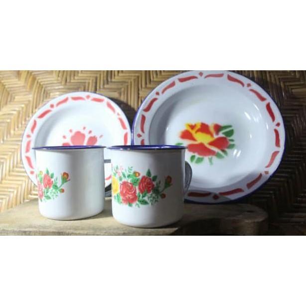 Cangkir Enamel/ Cangkir Seng/ Cangkir Jadul Bunga 6cm 7cm | Shopee Indonesia