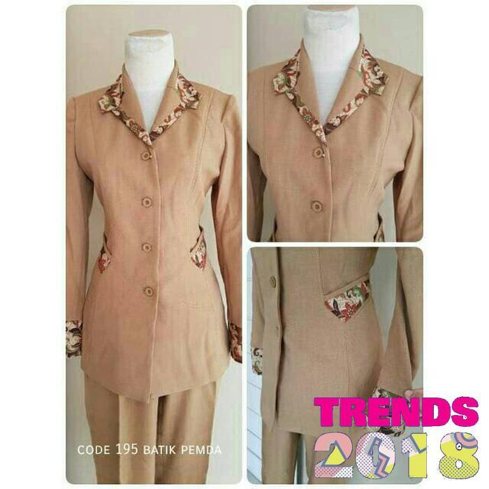 HARGA PROMO Setelan baju blazer Blazer batik wanita warna dongker kode 195   0b0d71d901