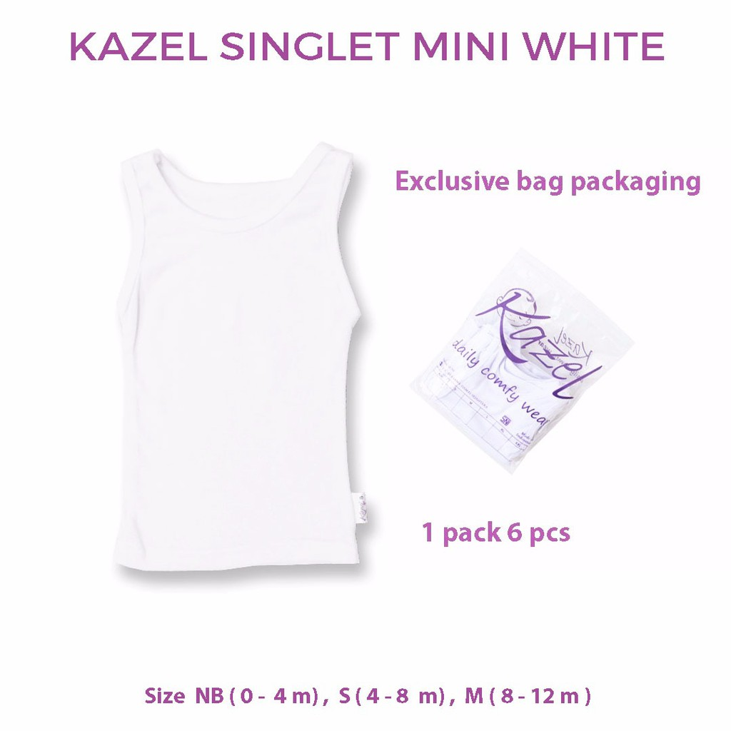 Kazel Singlet Mini Edition Warna Putih0 Sd 12 Bulan Shopee Indonesia Celana Pop Bayi Modern Multicolour