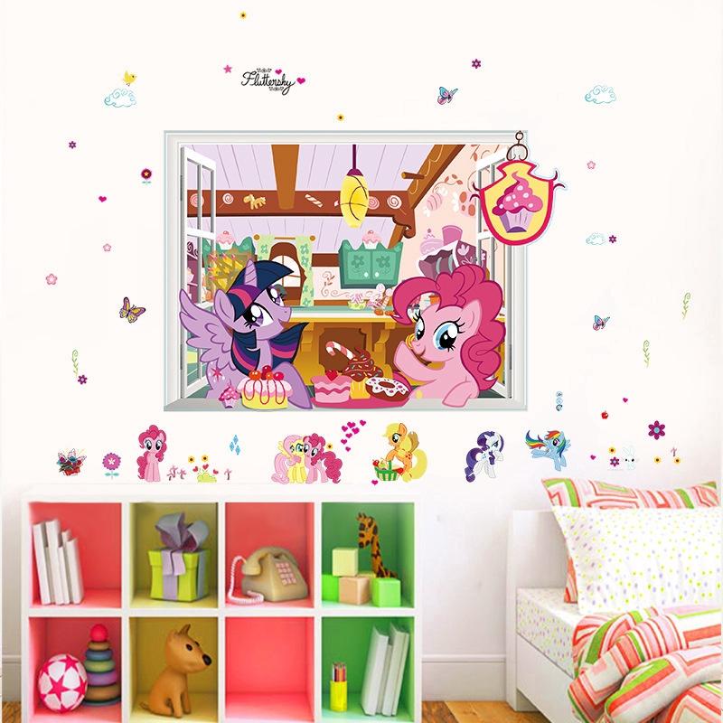 Stiker Dinding Desain Kartun My Little Pony Burberry Untuk Dekorasi Kamar Anak Shopee Indonesia