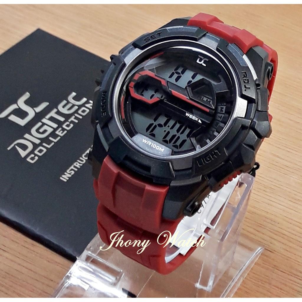 Jam Tangan Digitec Collection Da5003 Sport Black Dual Time 1water Pria Dg 2110 T Water Resist