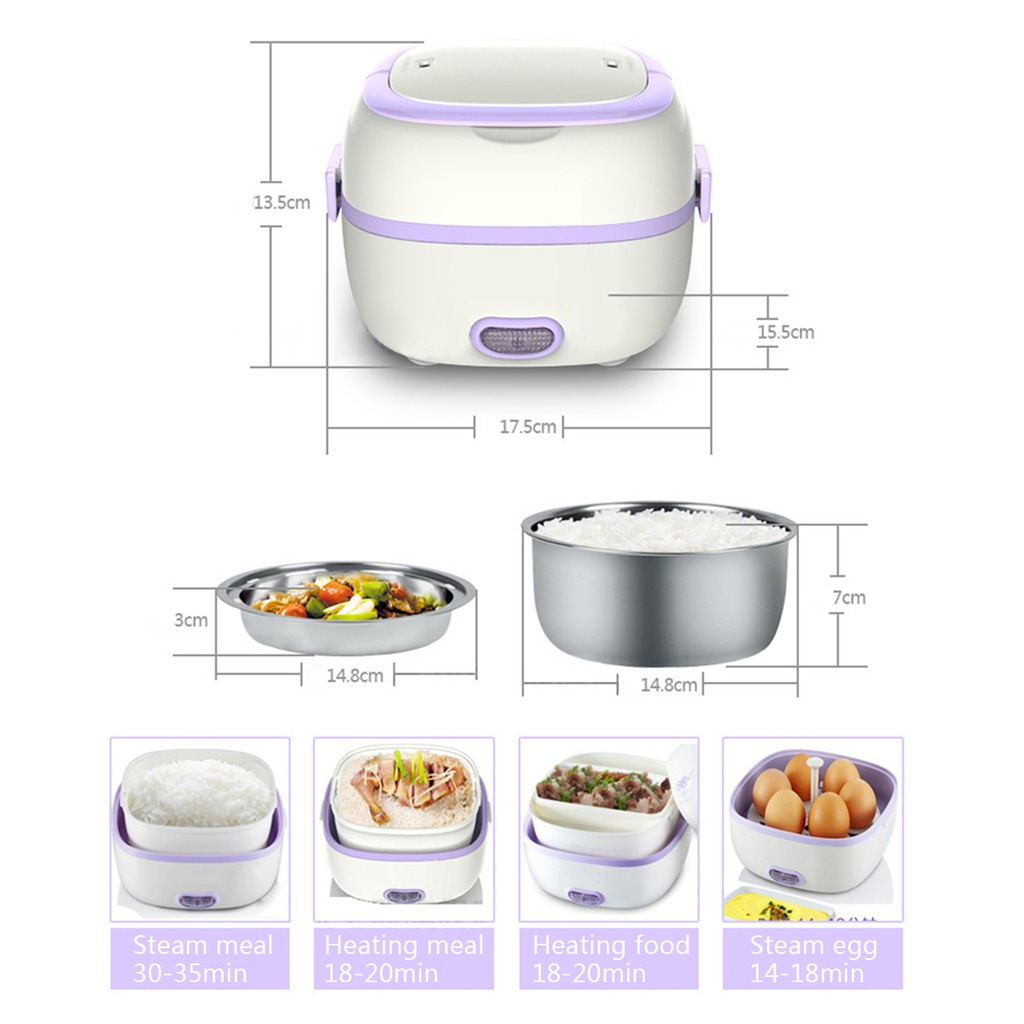 Multifunction Food Warmer Electric Rice Cooker 1l Lunch Box Egg Steamer Ztxt Shopee Indonesia