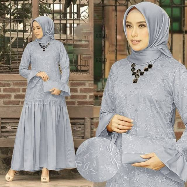 Model Baju Gamis Brokat Pesta Muslim Maxi Hanela Terbaru Di Tahun 2019 2020 Shopee Indonesia