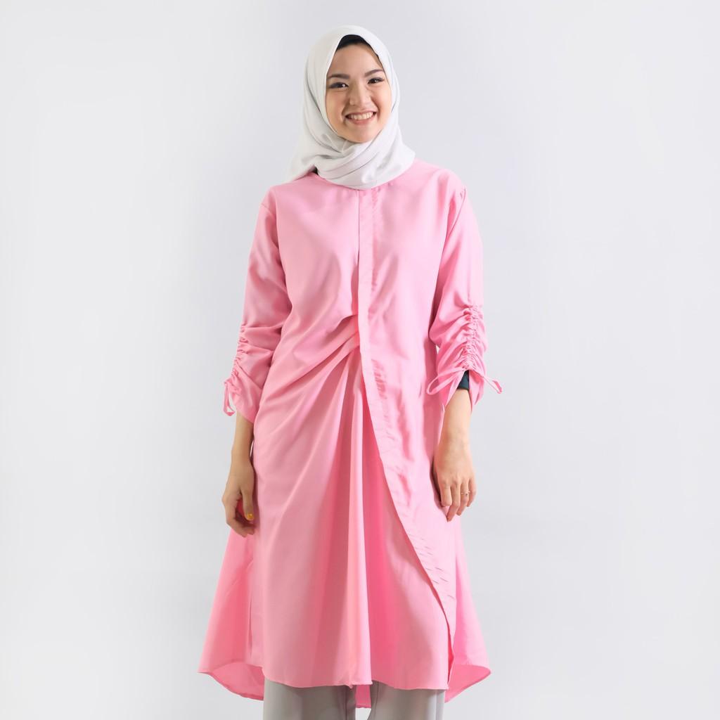 Zm Gail Pink Tunik Shopee Indonesia Zaskia Mecca Elma Hitam Xxl