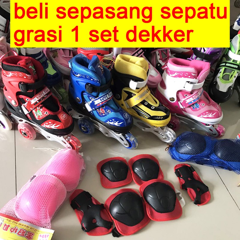 Sepatu Roda Anak 1set Helm dan Dekker   Inline Skate Murah  717666a90e