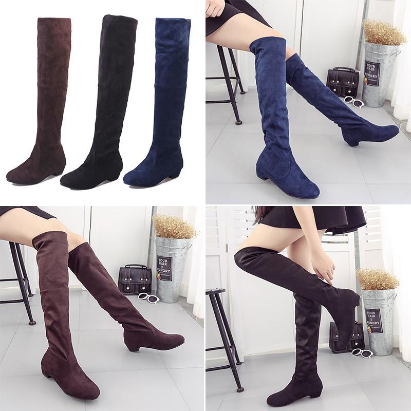 Boots Wanita Hak Tinggi Warna Hitam Dan Coklat  5c78dba0b3
