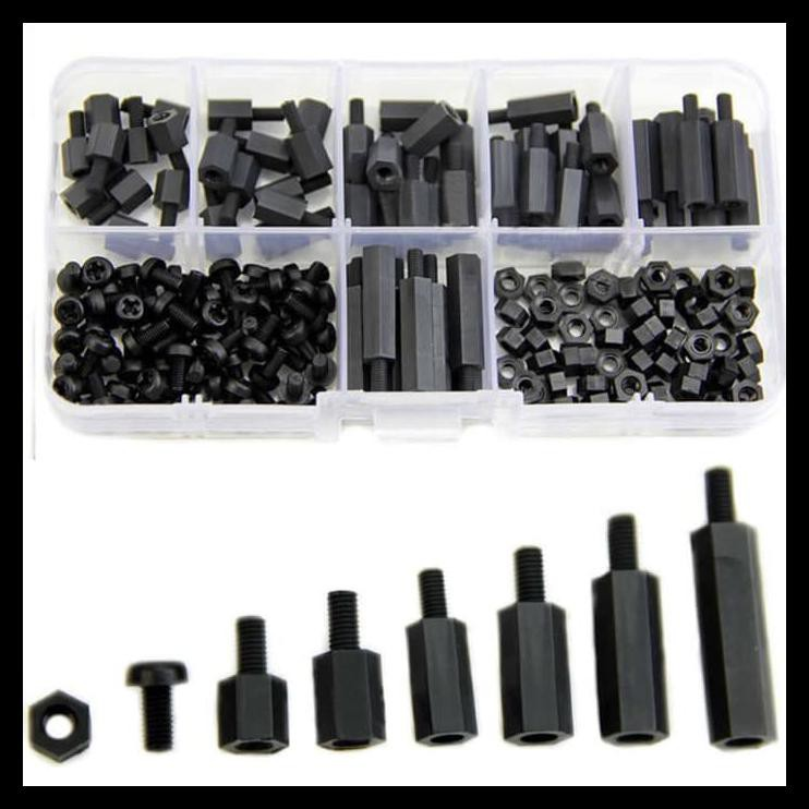 180Pcs Black M3 Nylon Hex Spacers Screw Nut Stand-off Kit w//Plastic Box Set SU
