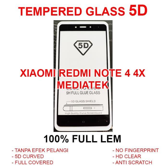 TEMPERED GLASS 5D Xiaomi Redmi Note 4 4X full screen anti gores screen guard 4D   Shopee Indonesia