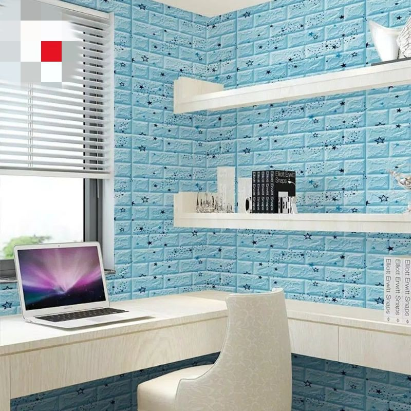 wallpaper foam 3d bintang biru