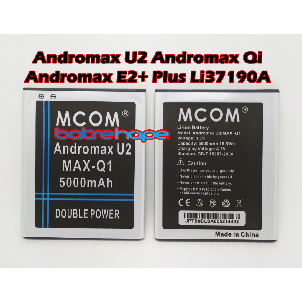 Baterai Smartfren Andromax Qi E2+ Q1 U2 E2 Plus Batre Original Battery 2 IC   Shopee Indonesia