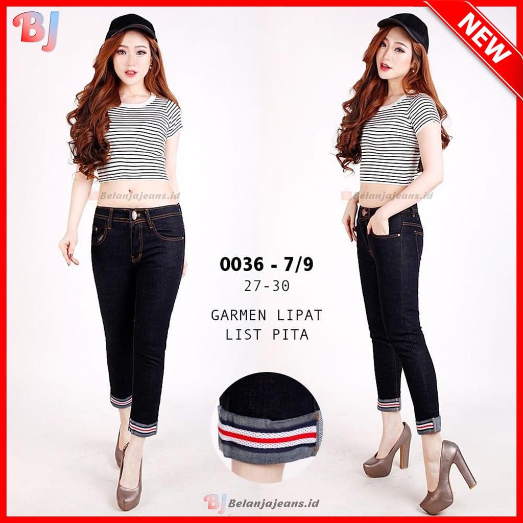 Celana 7 9 Jeans Model Lipat Gulung Bawah List Pita Wanita Levis Hitam Denim Panjang Cewek 0036 Shopee Indonesia