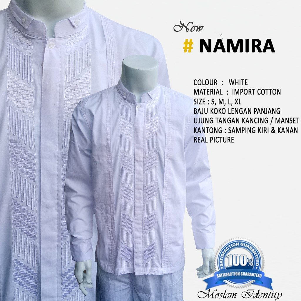 Baju Koko Gaul Bordir Butik Putih New Namira Manset Lengan Pendek Elegan Dengan Kks 33