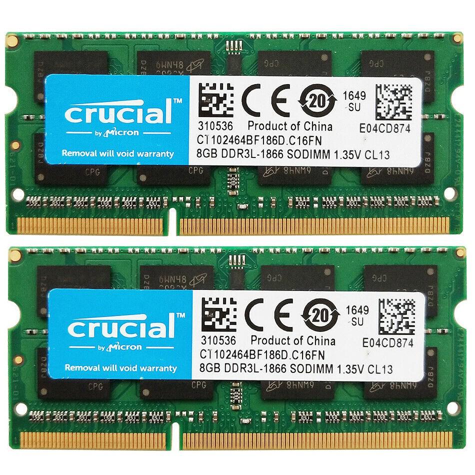 Micron 16GB 2x8GB PC3L-14900 DDR3 1866MHz 204pin Sodimm Laptop Notebook Memory