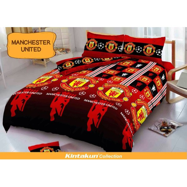 P R O M O Sprei Kintakun D'Luxe Ukuran 160 X 200 Queen New Manchester United | Shopee Indonesia