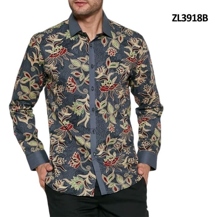 Kemeja Batik Pria PPBTK07 Modern Lengan Panjang Casual