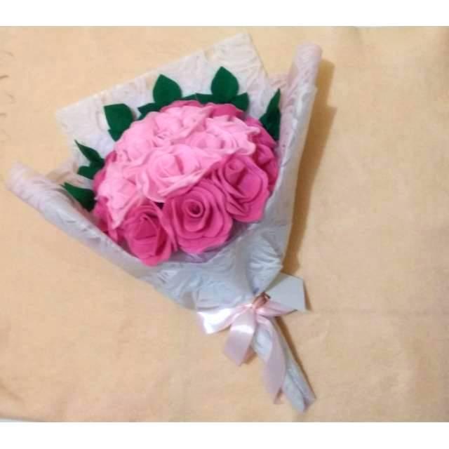 Buket Bunga Mawar Buket Kain Flanel 20 Tangkai Shopee Indonesia