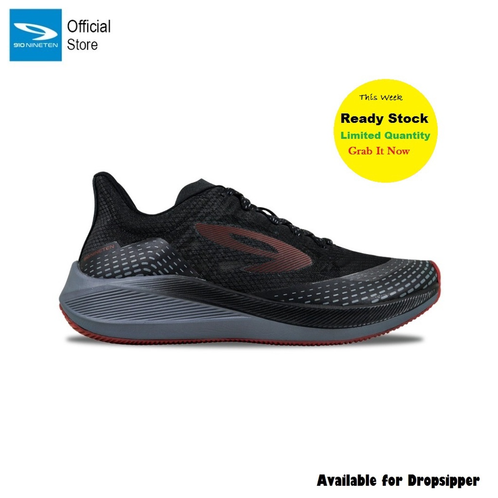 910 Nineten Haze Sepatu Running - HAZE 1.5 HITAM / ABU / MERAH