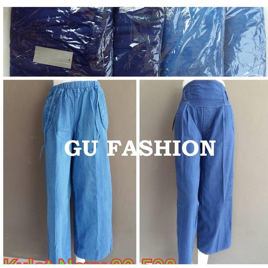 kulot jeans polos, celana panjang wanita denim, grosir