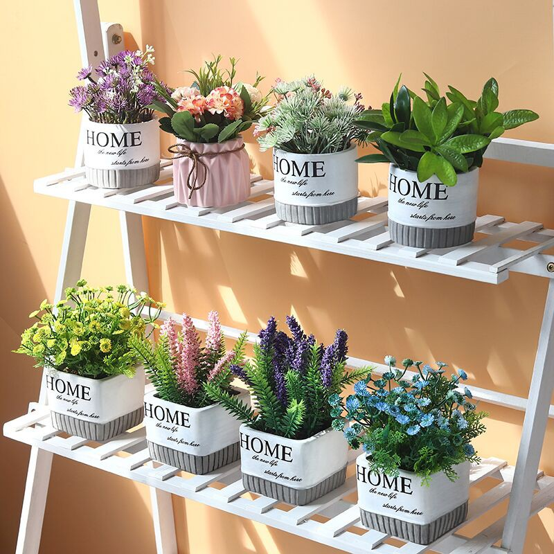 Ornamen Tanaman Bunga Buatan Warna Hijau Untuk Dekorasi Ruang Tamu Meja Shopee Indonesia