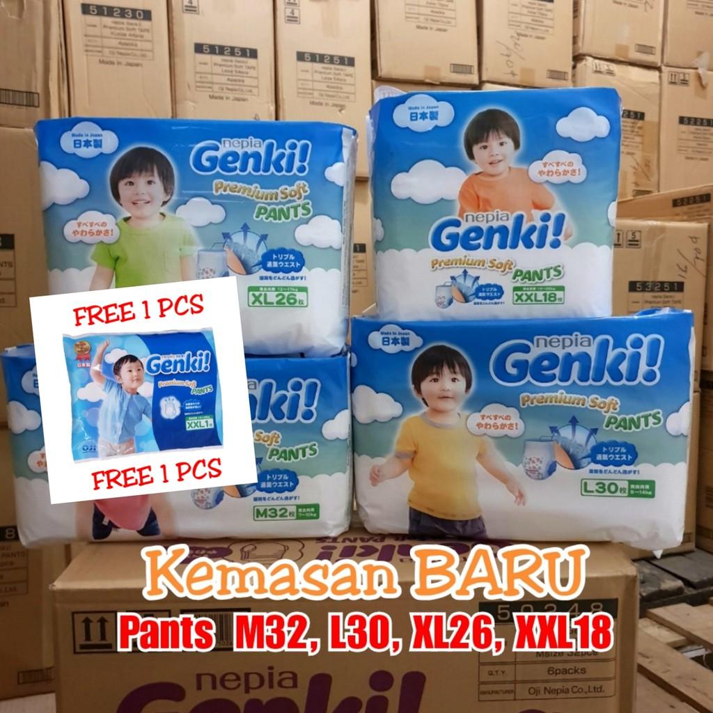 Popok Celana Bayi Nepia Genki Pants Xl26 Review Harga L 30 M32 L30