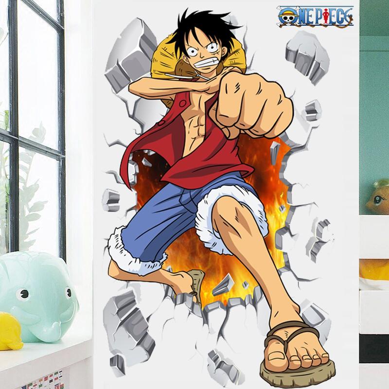 Wallpaper Menancapkan Kamar Tidur Kamar Anak Dekorasi Stiker Menggambar Kartun Kertas Dinding Asrama One Piece 3d Stereo Stiker Dinding Shopee Indonesia