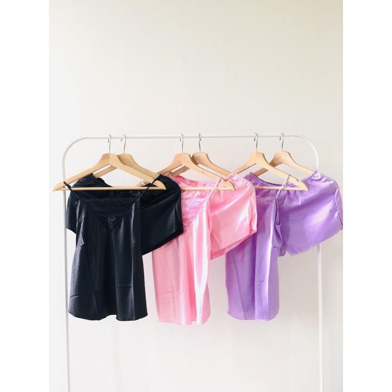 COD SEILLA PIYAMA SET (satin piyama,pajamas,sleepwear,baju tidur wanita,lingerie,tanktop pant)