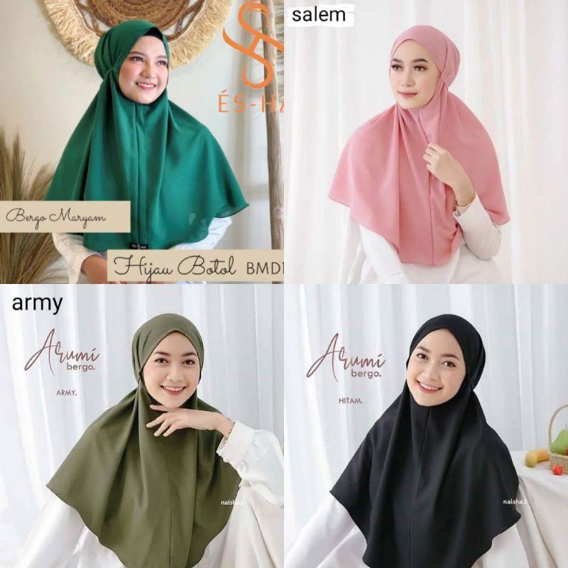 Jilbab Bergo Maryam Part 1 Ijo Botol Salem Army Hitam Shopee Indonesia