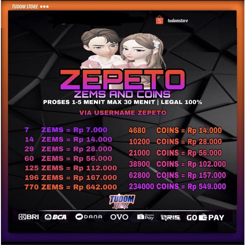 TOP UP ZEPETO ZEM AND COIN VIA USERNAME MURAH LEGAL 100%