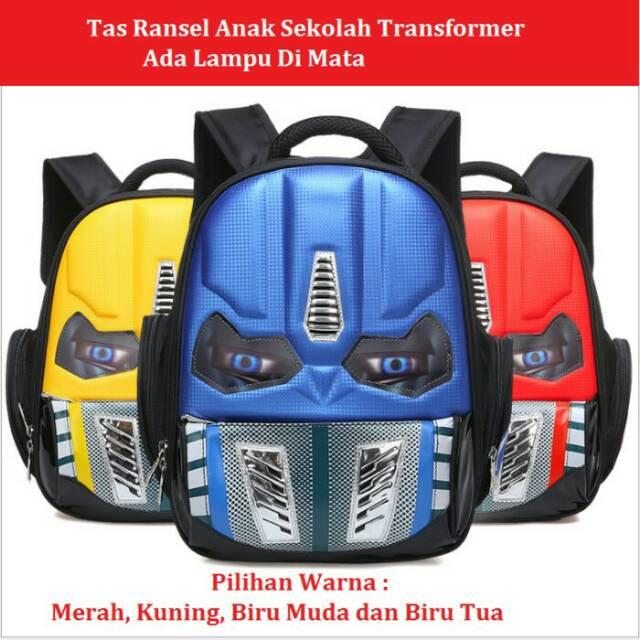 NEW Tas SD LAMPU Ransel Anak Sekolah SD Import Robot Transformers MATA  Lampu - 3 Kantung Besar - SD  d06580c6fd