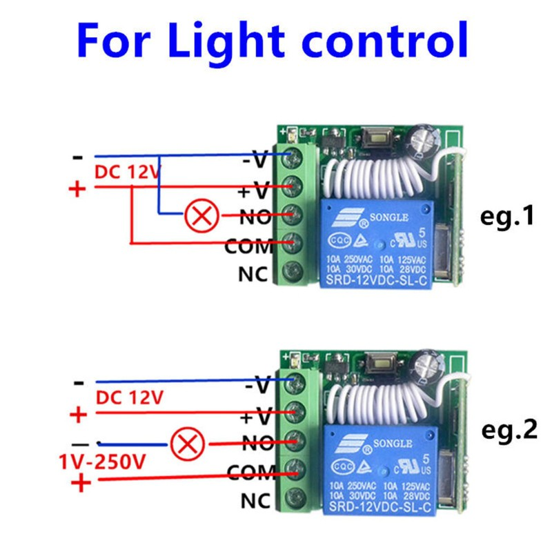Wireless Remote Control Switch DC12V 10A 1CH Relay Receiver Module Transmitter