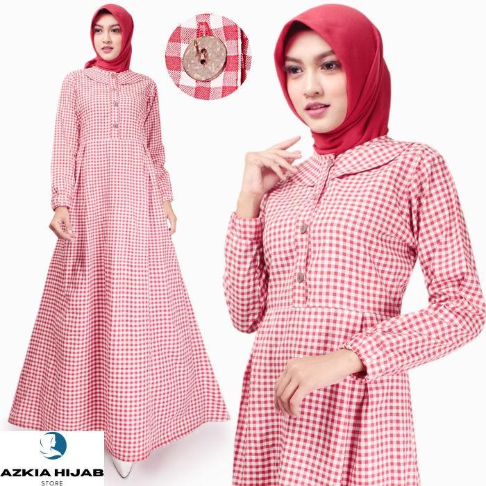 Terbaru Gamis Wanita | Husna Maxi | Dress Muslim Katun | Original Azkia Hijab - Hitam Real Pict