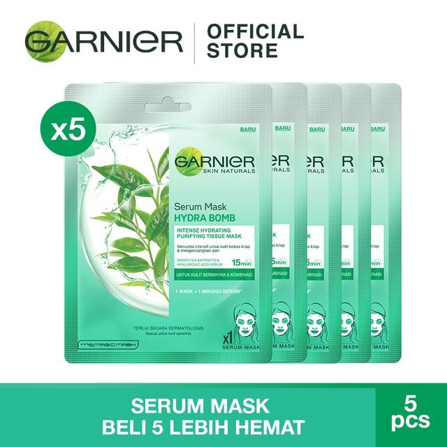 Skin Care Viva Untuk Kulit Berminyak: Garnier Serum Mask Green Tea Skin Care X 5